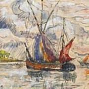 Fishing Boats In La Rochelle Art Print by Paul Signac