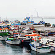 Fishing Boats Moored At A Harbor, Ponta Art Print