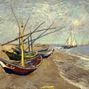 Fishing Boats On The Beach At Les Sainte-maries-de-la-mer Art Print