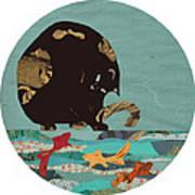 Fishing Cat Black Art Print