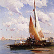 Fishing Craft With The Rivere Degli Schiavoni Venice Art Print