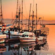 Fishing Fleet Sunset Boat Reflection At Fishermans Wharf Morro Bay California Art Print