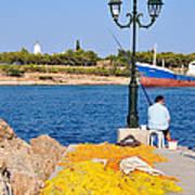 Fishing In Spetses Town Art Print