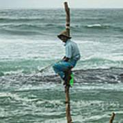 Fishing On A Pole Art Print