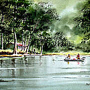 Fishing On Lazy Days - Aucilla River Florida Art Print