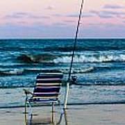 Fishing On The Beach Art Print