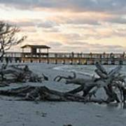 Fishing Pier And Driftwood Art Print