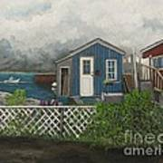 Fishing Shacks Alaska Art Print by Reb Frost