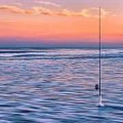 Fishing The Sunset Surf - Horizontal Version Art Print