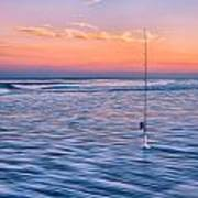 Fishing The Sunset Surf - Vertical Version Art Print