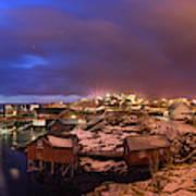 Fishing Village At Night, Lofoten Art Print