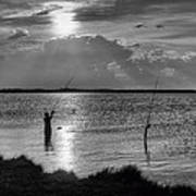 Fishing With Dad - Black And White - Merritt Island Art Print