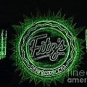Fitz's In Green Neon  Art Print