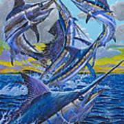 Five Billfish Off00136 Art Print by Carey Chen