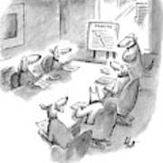 Five Dogs Sit Around An Office Meeting Table Art Print