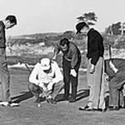 Five Golfers Looking At A Ball Art Print