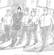 Five Guys Walking. One Is Wearing A Winter Coat Art Print