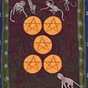 Five Of Pentacles Art Print