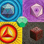 Five Platonic Solids - Fire Art Print