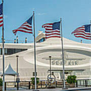Five Us Flags Flying Proudly In Front Of The Megayacht Seafair - Miami - Florida - Panoramic Art Print
