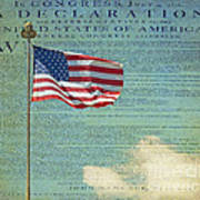 Flag - Declaration Of Independence -  Luther Fine Art Art Print by Luther Fine Art