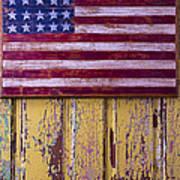 Flag On Old Yellow Door Art Print