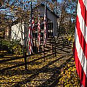 Flags And Covered Bridge Art Print