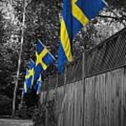 Flags Of Sweden Art Print