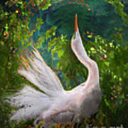 Flamboyant Egret Art Print by Melinda Hughes-Berland