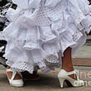 Flamenco Dancer In White Art Print