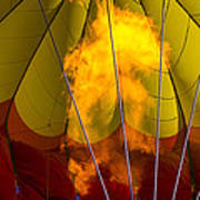 Flames Heating Up Hot Air Balloon Print by Garry Gay