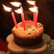Flaming Birthday Cupcake Closeup Art Print by Robert D  Brozek