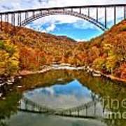 Flaming Fall Foliage At New River Gorge Art Print