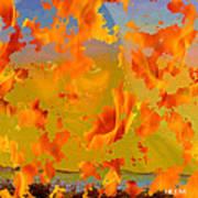 Flaming Indian Girl Sunset Art Print