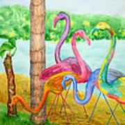 Flamingo Dingos Art Print