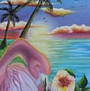 Flamingo Sunset Art Print