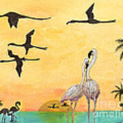 Flamingo Sunset Silhouette Cathy Peek Tropical Birds  Art Print