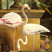 Flamingos Print by Lizzie Riches
