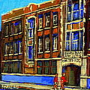 Flashback To Sixties Montreal Memories Baron Byng High School Vintage Landmark St. Urbain City Scene Art Print by Carole Spandau