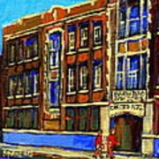 Flashback To Sixties Montreal Memories Baron Byng High School Vintage Landmark St. Urbain City Scene Art Print by Carole Spandau