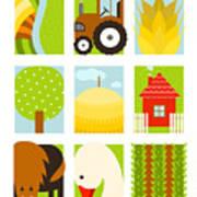 Flat Childish Rectangular Agriculture Art Print