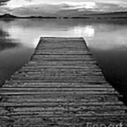 Flathead Lake Dock Sunset - Black And White Art Print