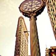 Flatiron Building And 5th Avenue Clock Art Print