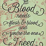 Flesh And Blood - Johnny Cash Lyric Art Print