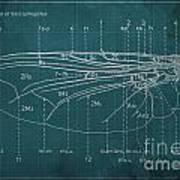 Flesh Fly Wing Blueprint Green Art Print