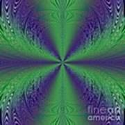 Flight Of Fancy Fractal In Green And Purple Art Print