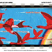 Flight Of Magical Gulls Anime Art Print