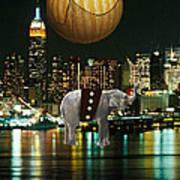 Flight Over The New York Skyline On A Hot Air Balloon Art Print by Marvin Blaine
