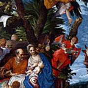 Flight To Egypt With Angels Art Print