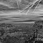 Flightpath-black And White Art Print